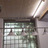 Halogenleuchte modern Edelstahl Zuglampe Zugleuchte 5 Flammig